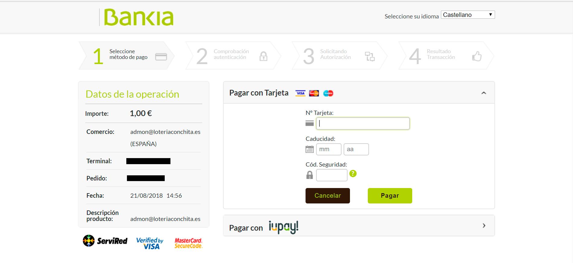 Pago de La Primitiva a través de Bankia en la web de Lotería Conchita