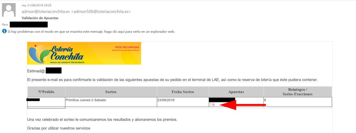 E-mail confirmación de La Primitiva por Lotería Conchita