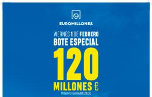 El 1 de febrero bote especial de 120 millones de euros en los Euromillones